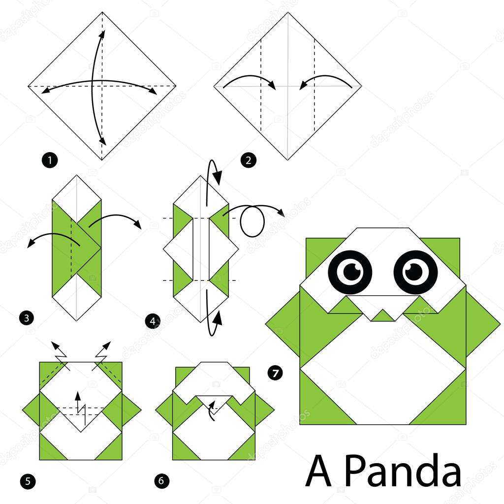 paso a paso las instrucciones de c mo hacer panda de origami a vector de stock pokky334. Black Bedroom Furniture Sets. Home Design Ideas