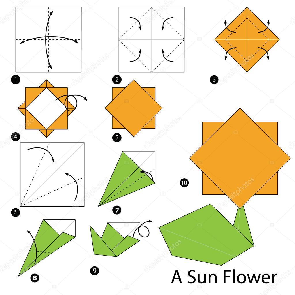 Instructions étape Par étape Comment Faire Origami Fleur Du Soleil A