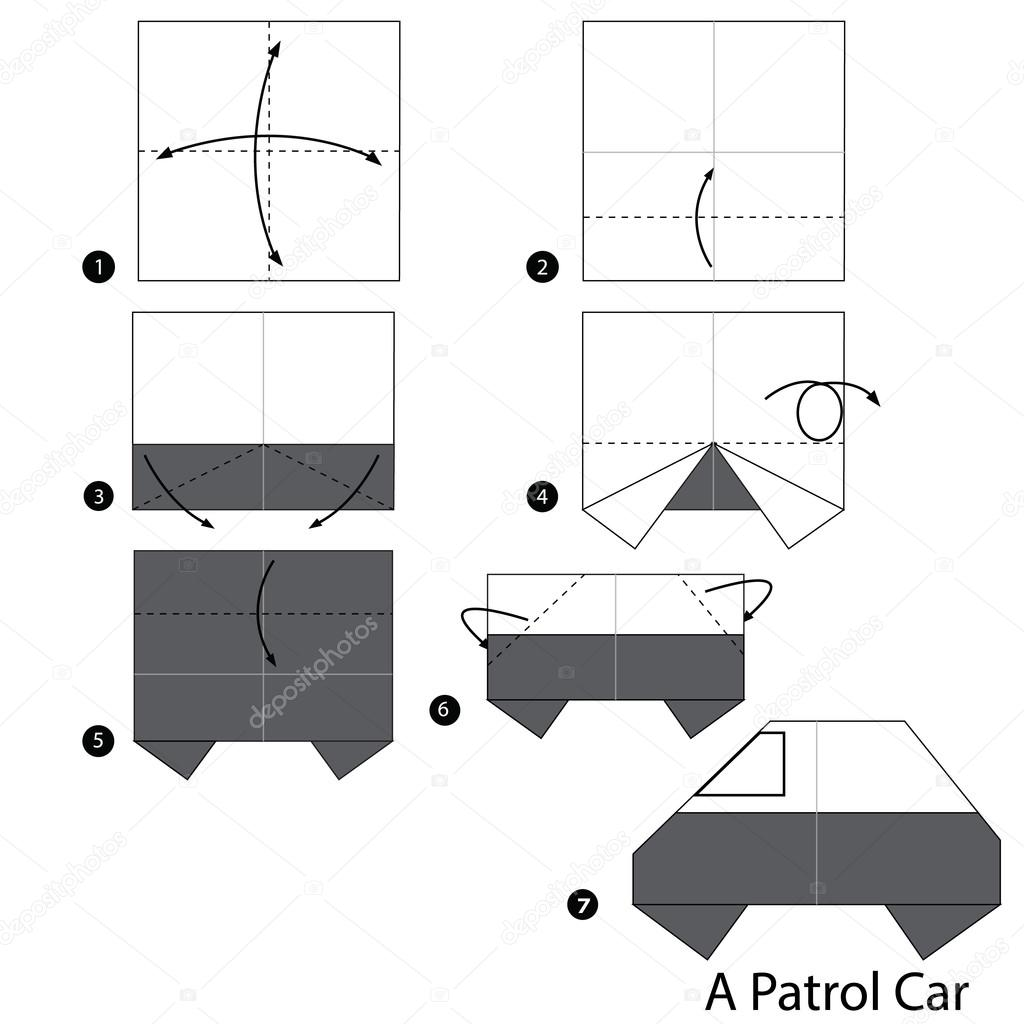 Step By Step Instructions How To Make Origami A Patrol Car Stock