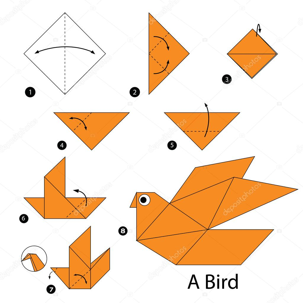 Step by step instructions how to make origami a bird stock animal toy cartoon cute paper steps origami vector by pokky334hotmail jeuxipadfo Images