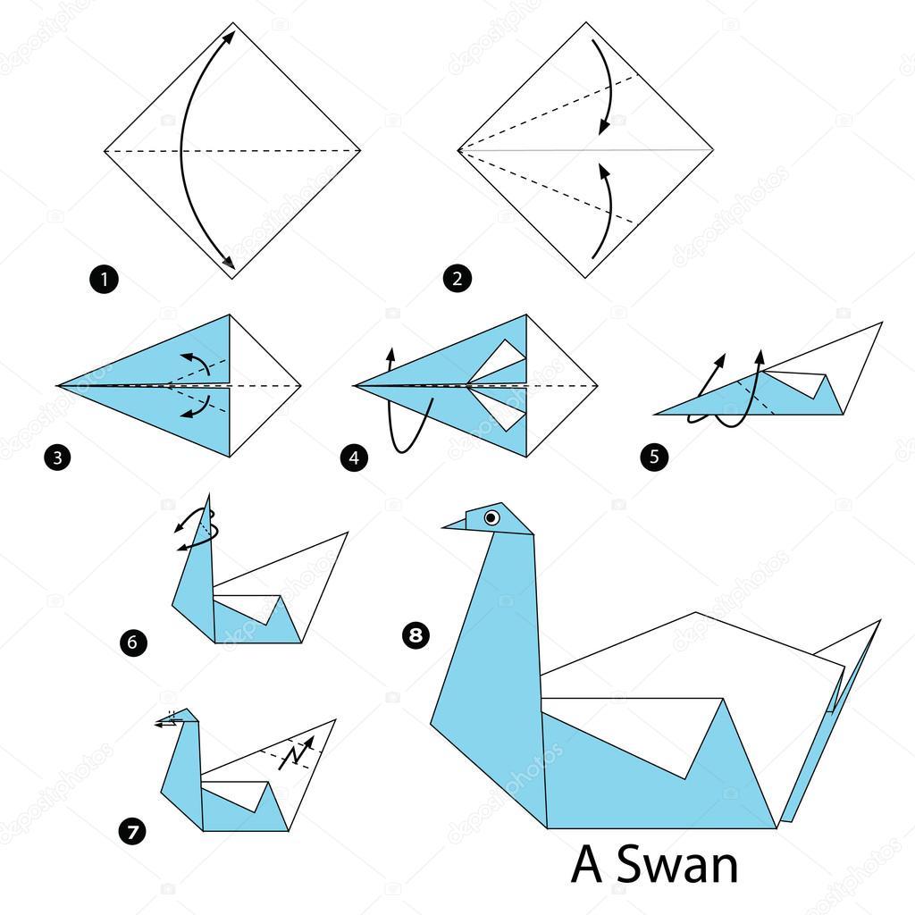 instru231245es passo a passo como fazer origami cisne a