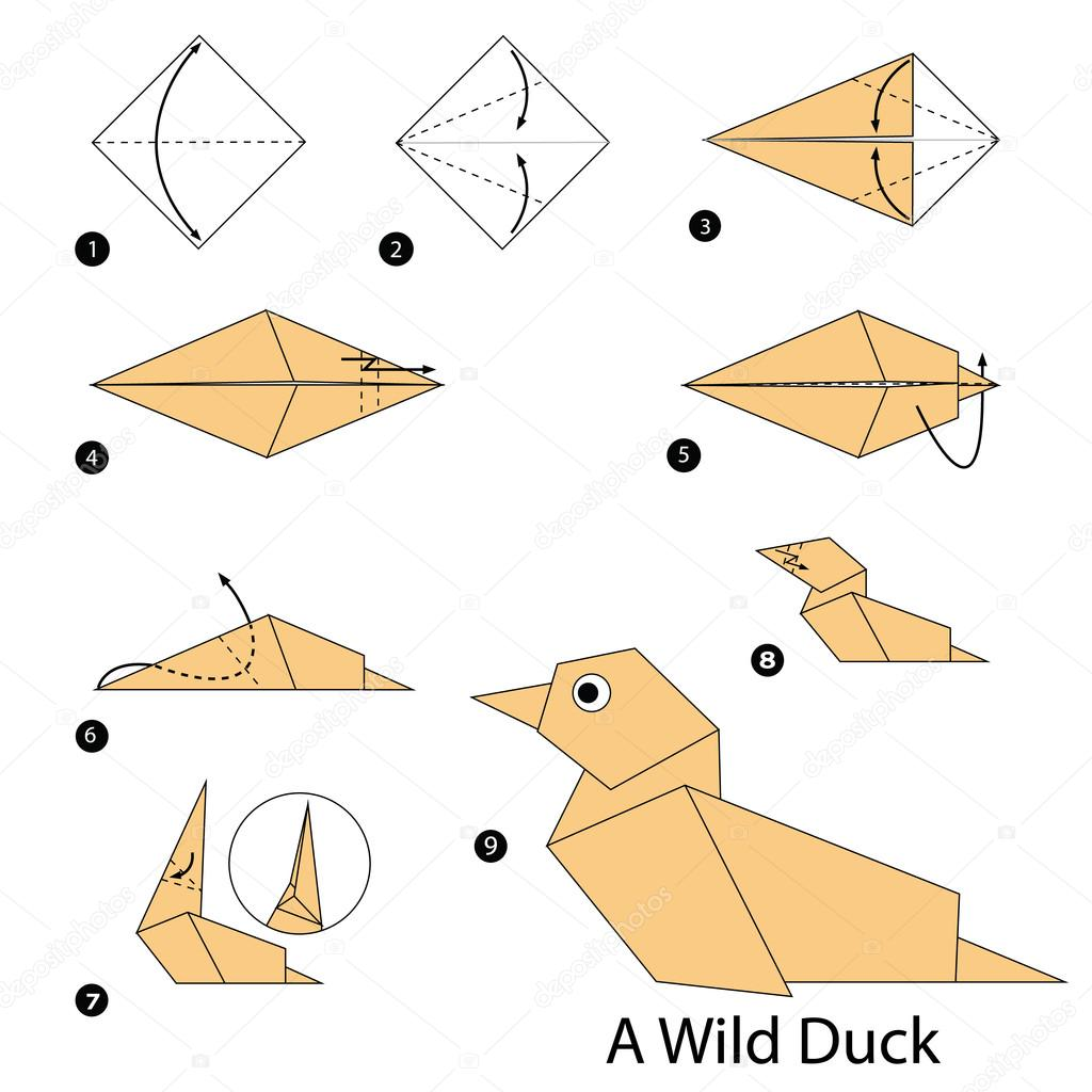 step by step instructions how to make origami a wild duck. Black Bedroom Furniture Sets. Home Design Ideas