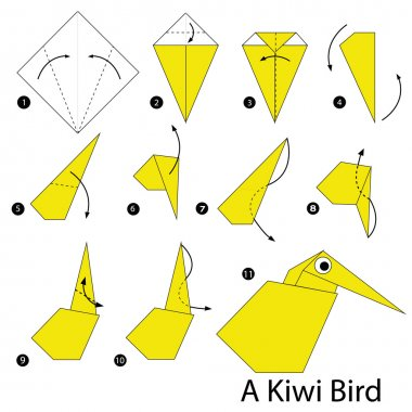 Step by step instructions how to make origami A Kiwi Bird.