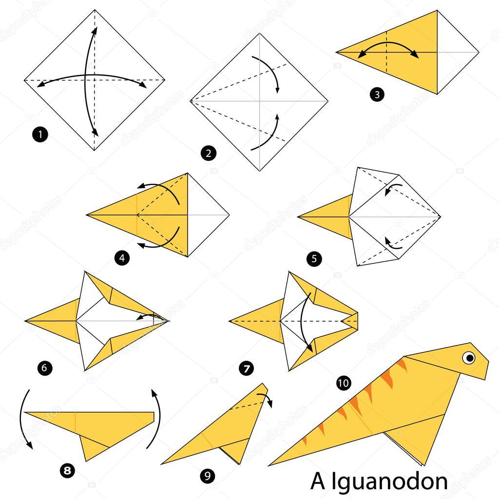 Paso a paso las instrucciones de cmo hacer un dinosaurio de origami