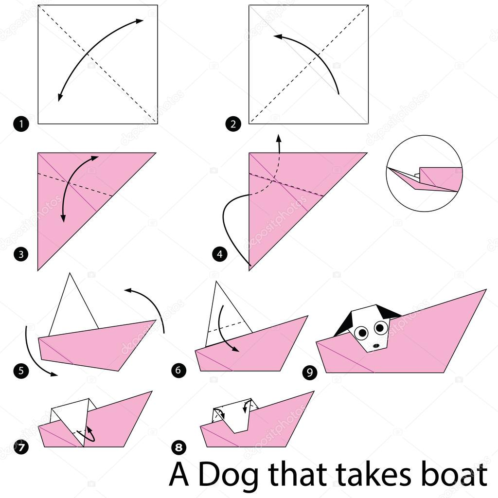 Step by step instructions how to make origami a dog that takes animal toy cartoon cute paper steps origami vector by pokky334hotmail jeuxipadfo Image collections