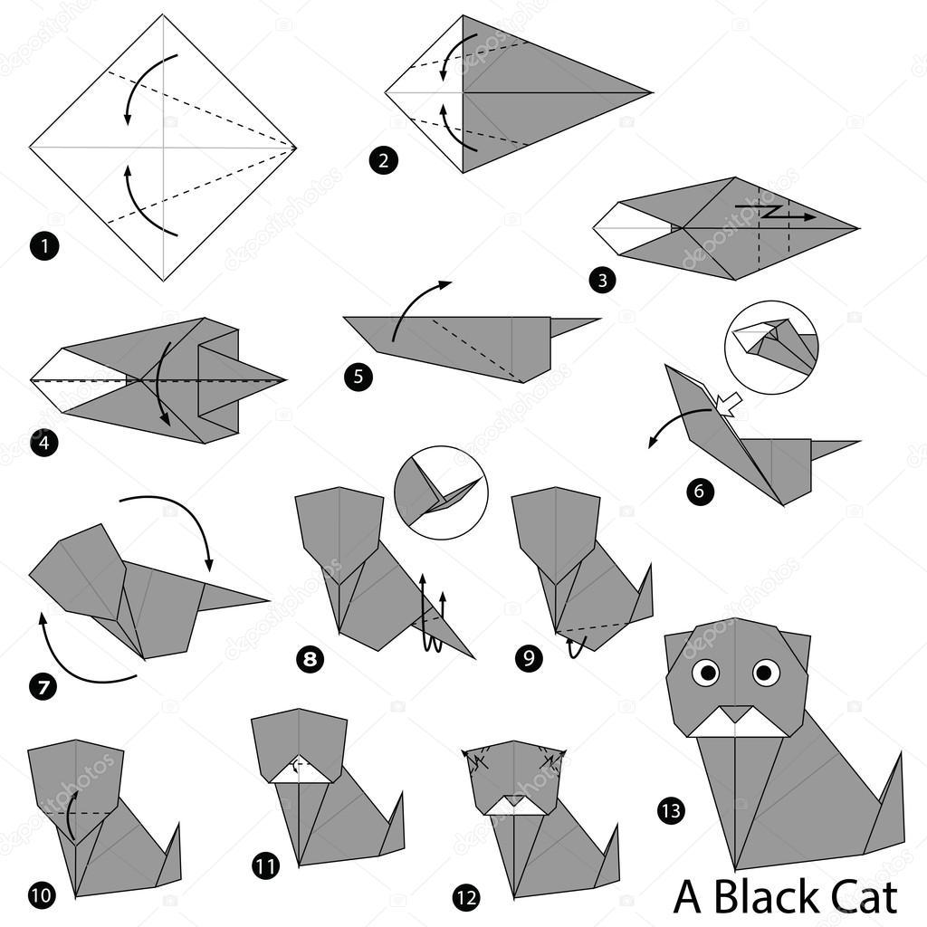 steg f r steg instruktioner hur man g r origami a black. Black Bedroom Furniture Sets. Home Design Ideas