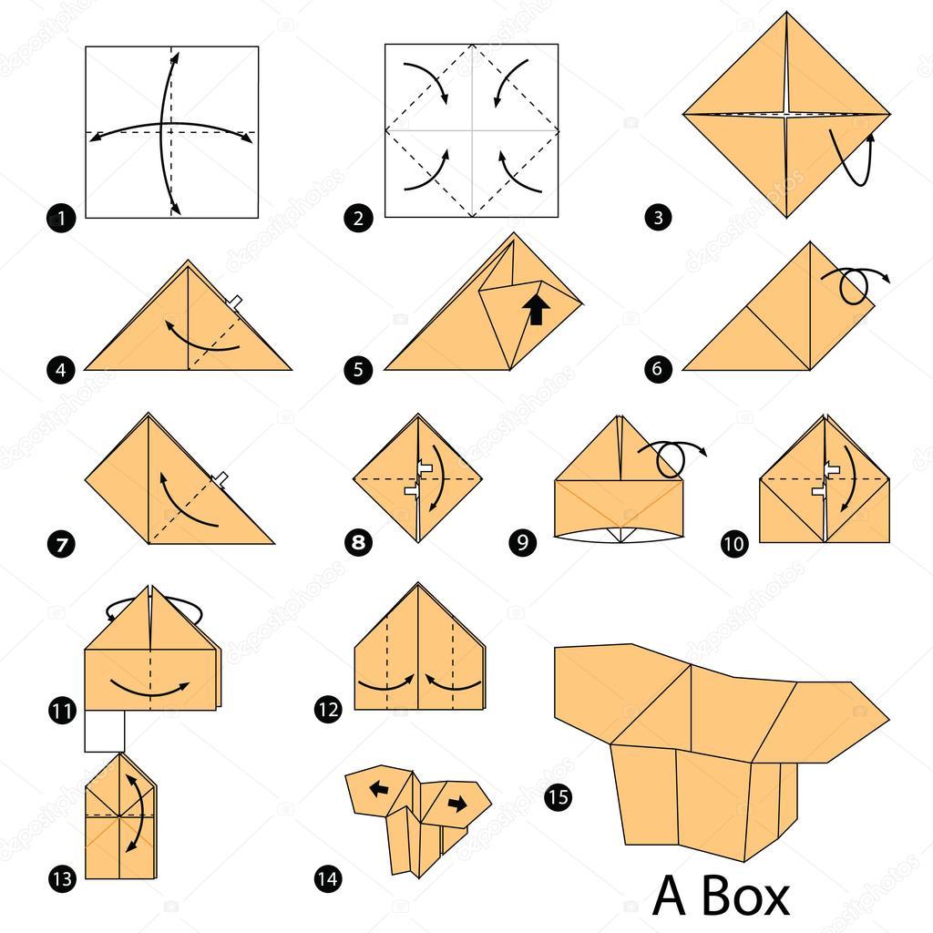 Instruções Passo A Passo Como Fazer Uma Caixa De Origami Vetores