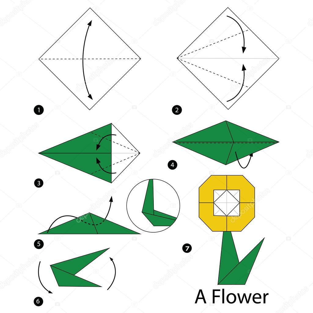 Instructions étape Par étape Comment Faire Origami Fleur A Image