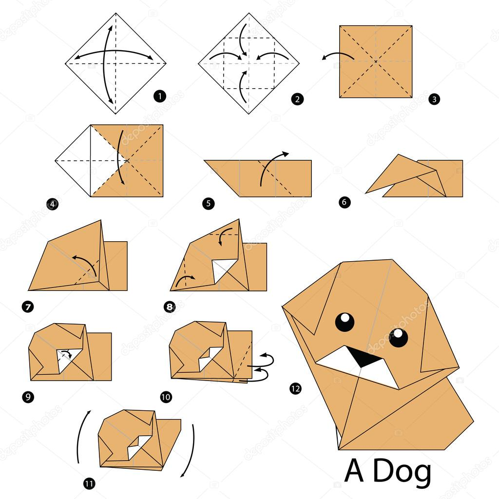 Instructions tape par tape comment faire chien origami a image vectoriell - Comment faire origami ...