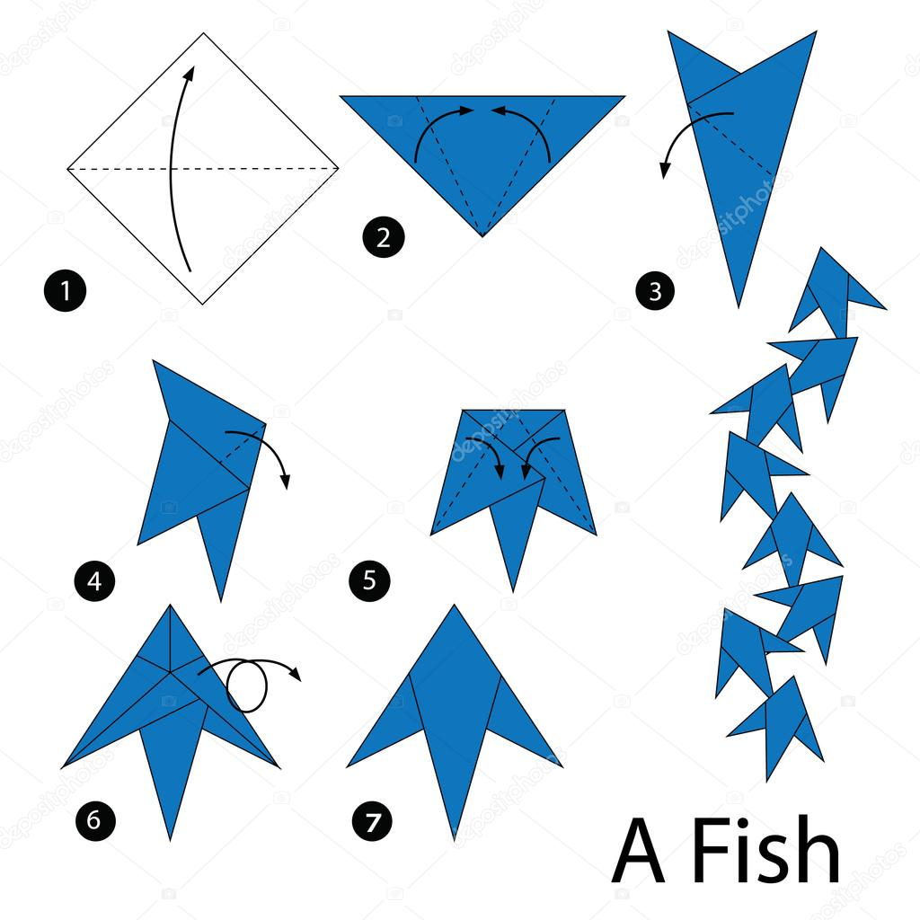 Step By Step Instructions How To Make Fish Origami. Royalty Free ... | 1024x1024