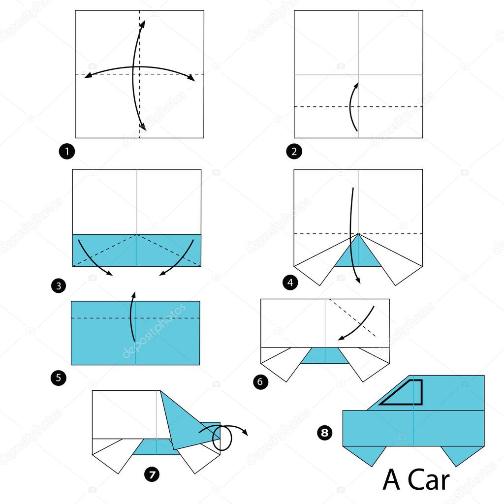 Step By Step Instructions How To Make An Origami A Car Stock