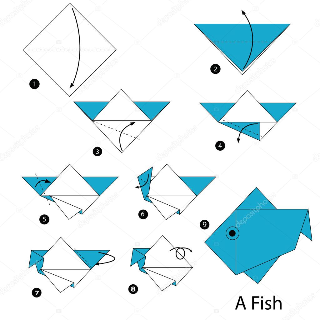 Step by step instructions how to make an origami a fish stock step by step instructions how to make an origami a fish stock vector jeuxipadfo Images