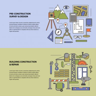 Vector conceptual icon set construction and repair