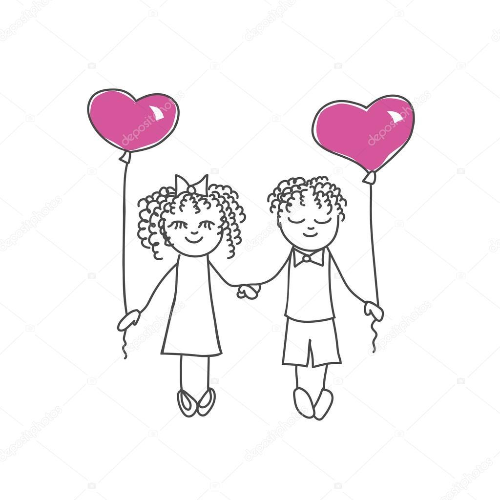 Pareja de dibujos animados lindo con el corazón en forma de globos ...