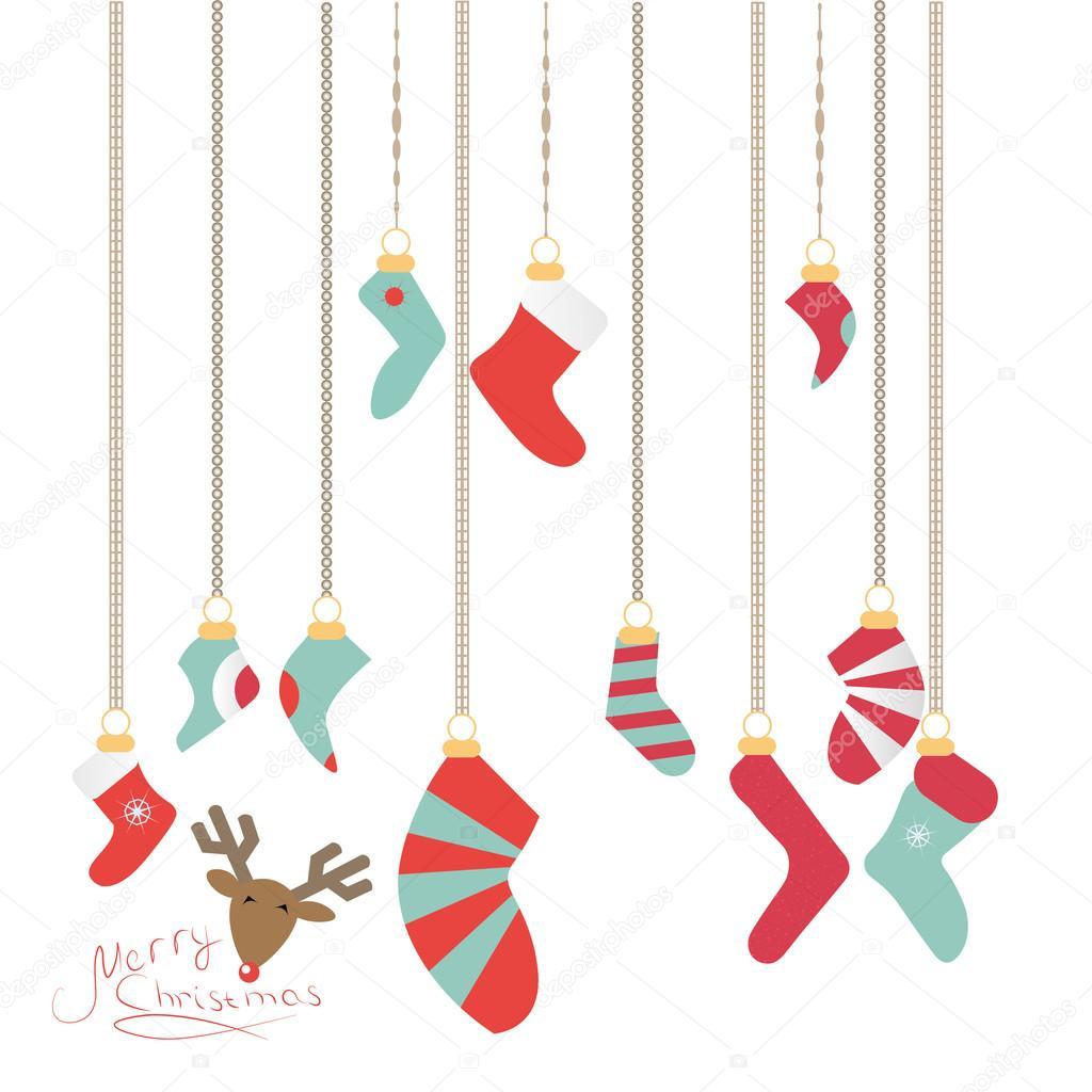 Weihnachten Socken an eine magische Faden hängen, ist Silvester Logo ...