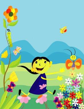 girl in the garden with beautiful   butterflies,