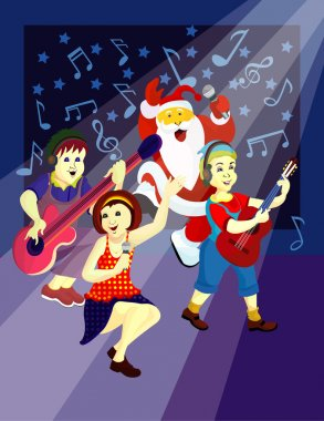 group song on the stage, merry Christmas  and happy new year,