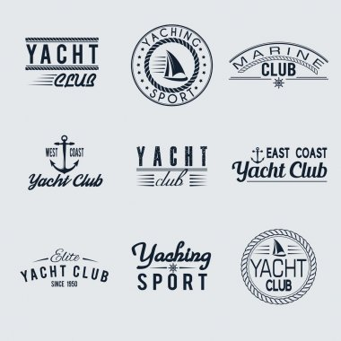 Set of yacht club labels