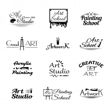 Set of art studio emblems