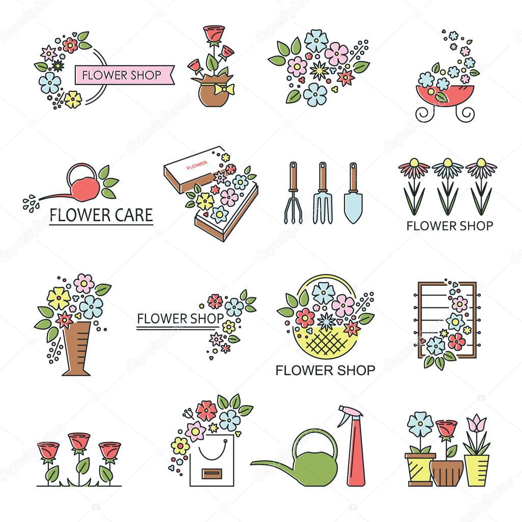 Flower shop icons