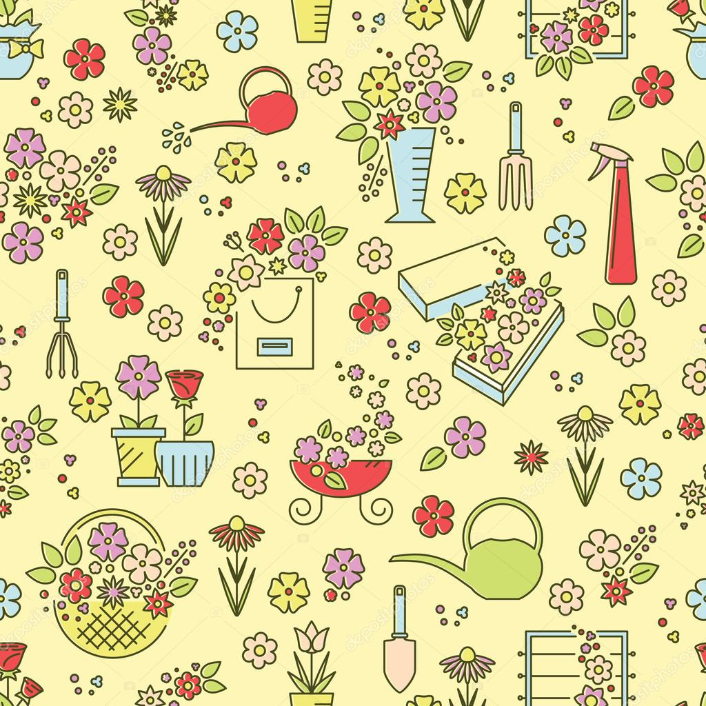 Flower line seamless pattern