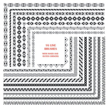 Vector set of decorative pattern brushes