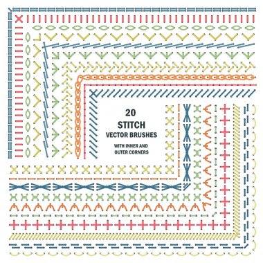 Set of vector embroidery stitch pattern brushes