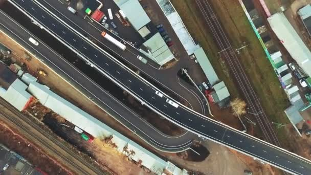 Aerial View of Moscow Highway Interchange With Railroad. Industrial Cityscape
