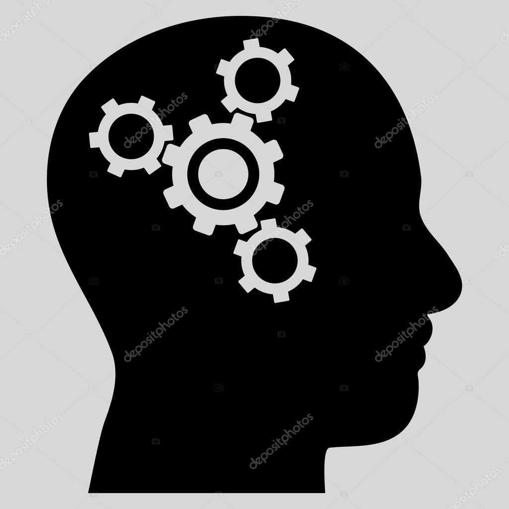 Gehirn Mechanik flache Vektor Piktogramm — Stockvektor ...