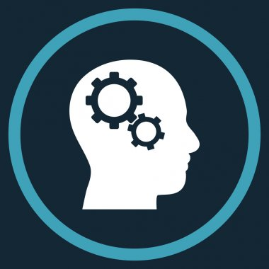 Brain Gears Flat Rounded Vector Icon