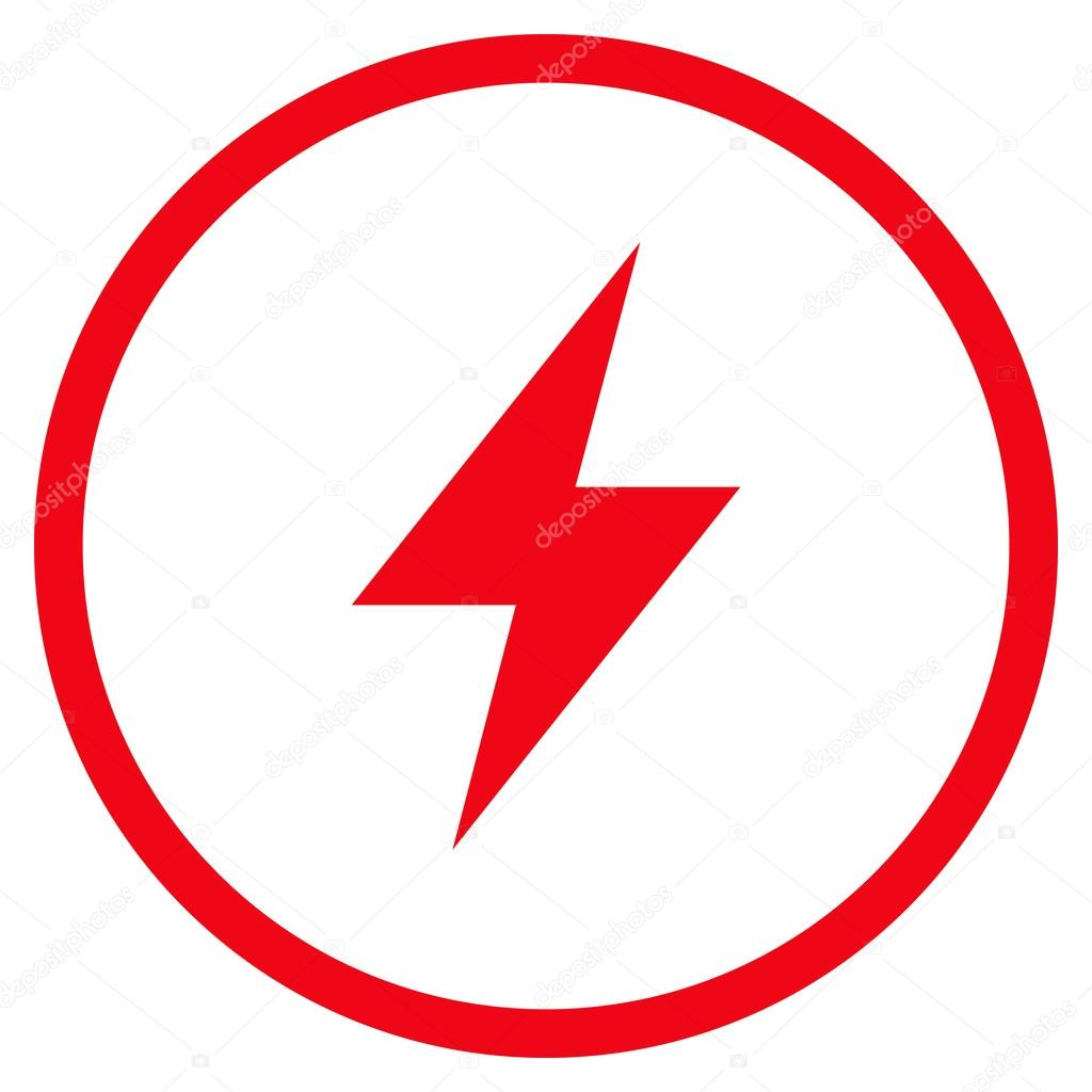 Electrical Strike Flat Vector Rounded Icon — Stock Vector