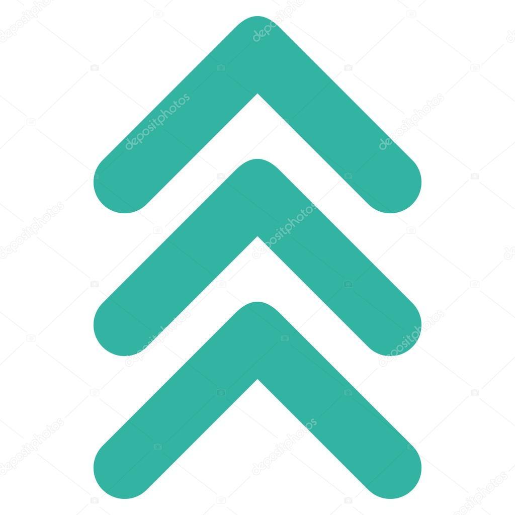 8c63eb98e913ff Triple flèche vers le haut l icône du vecteur. Le style est symbole d icône  plate, couleur cyan, fond blanc — Vecteur par anastasyastocks.gmail.com