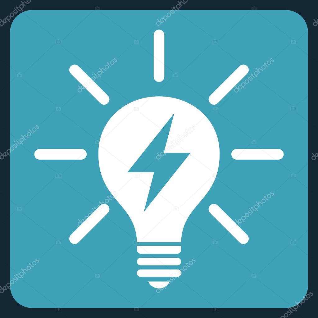 vector square blue icon lighting bulb. electric light bulb vector icon symbol image style is bicolor flat pictogram drawn on a rounded square with blue and white lighting f