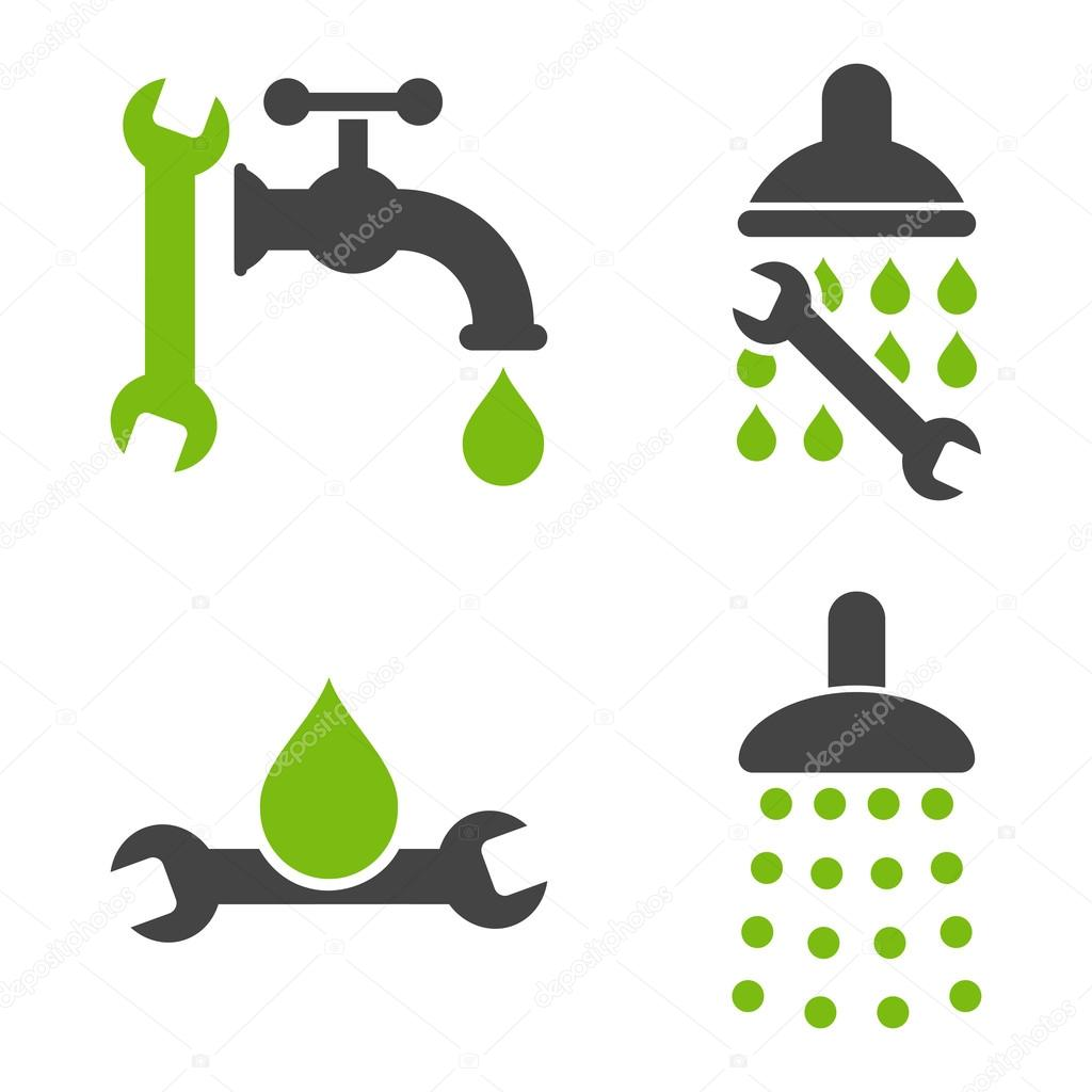 Plumbing Tools Flat Vector Icons