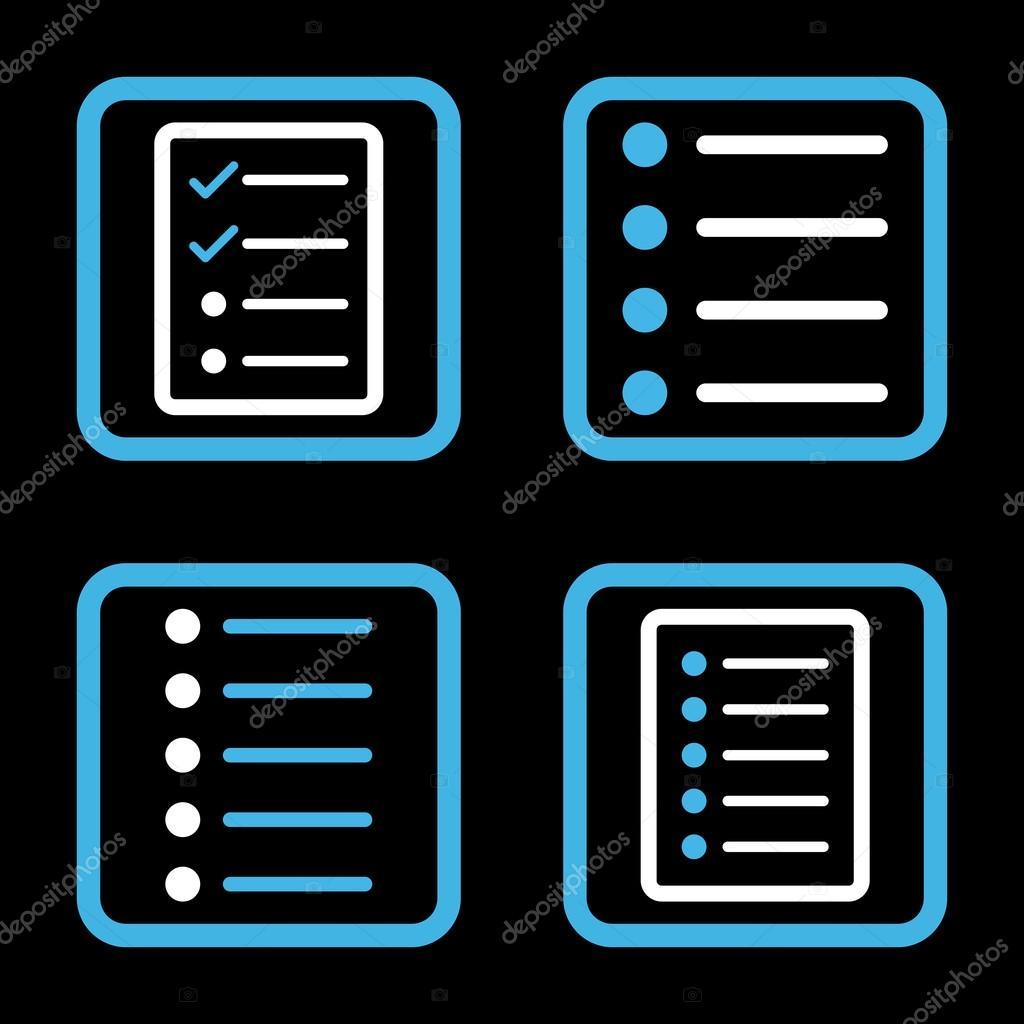 List Items Flat Squared Vector Icon Stock Vector Anastasyastocks