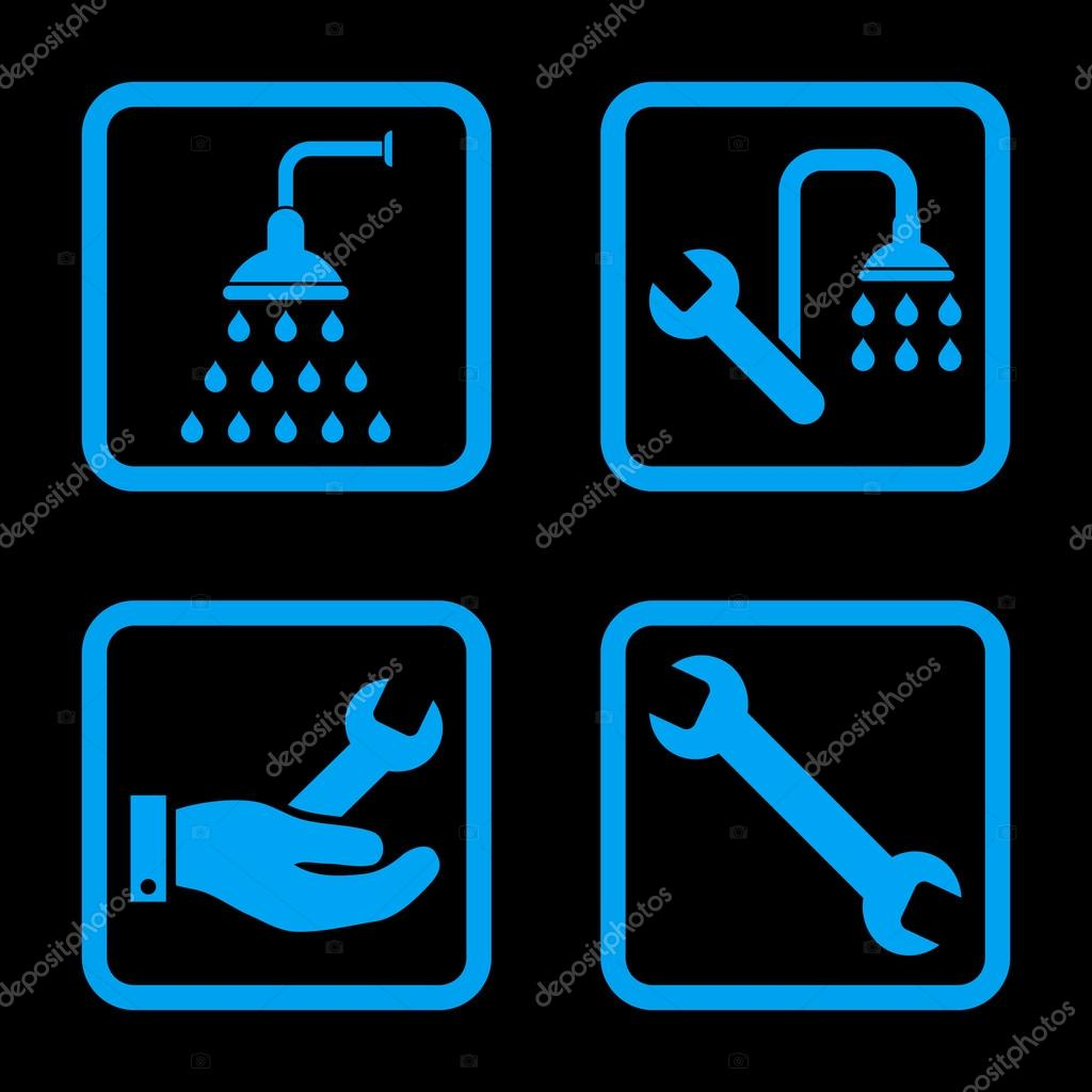 Plumbing Flat Squared Vector Icon