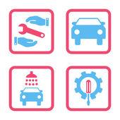 Auto služby bytu na druhou vektorové ikony