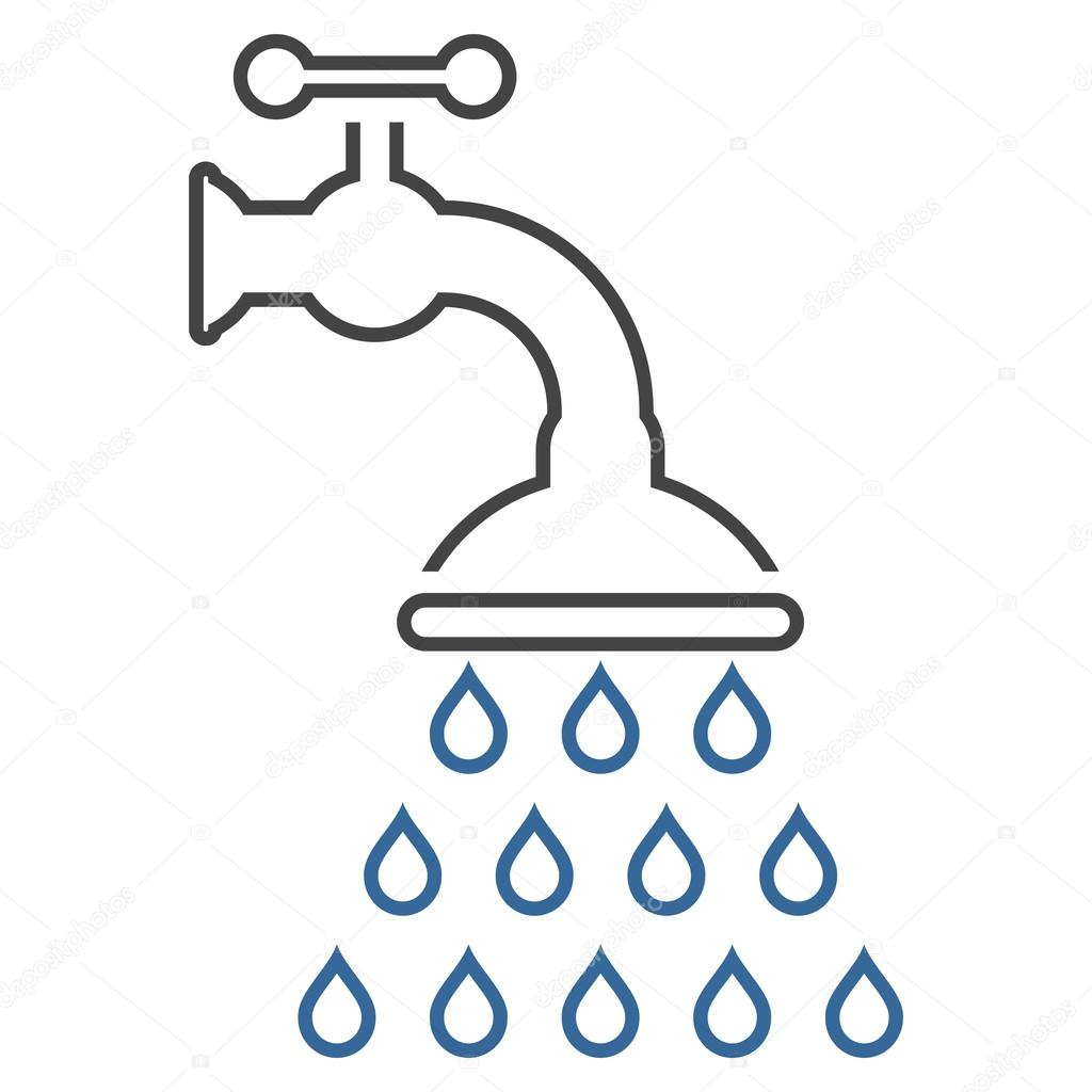 Prysznic Kran Konspektu Wektor Ikona Grafika Wektorowa