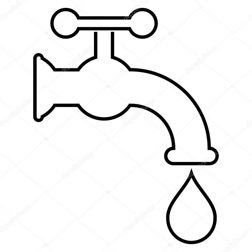 Water Tap Outline Vector Icon — Stock Vector ...
