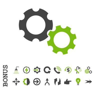 Gears Flat Vector Icon With Bonus