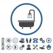 Icona del glifo arrotondata piatta con vasca doccia con Bonus