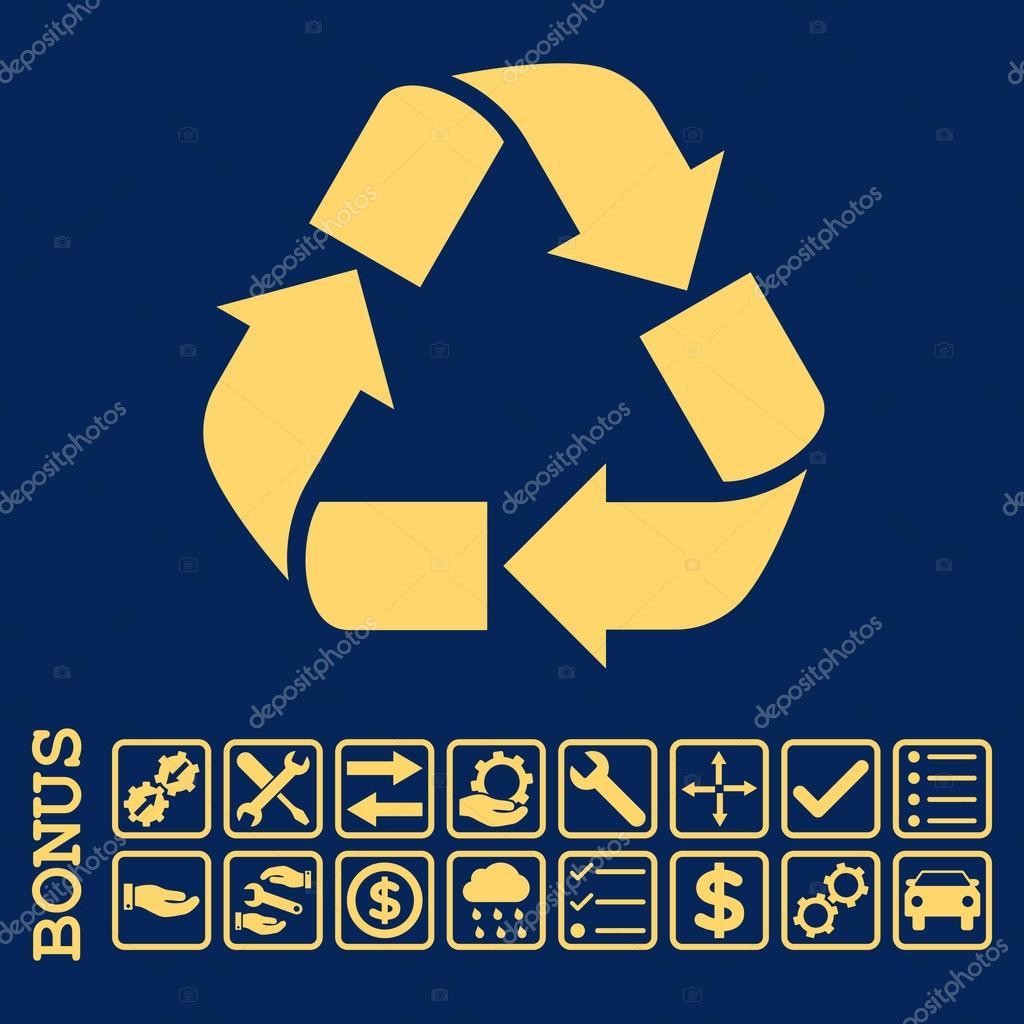 Recycle Flat Vector Icon With Bonus