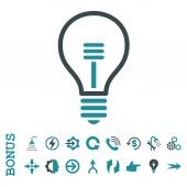Lampy žárovky ploché glyf ikona s bonusem