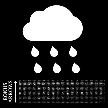 Rain Cloud Flat Vector Icon with Bonus