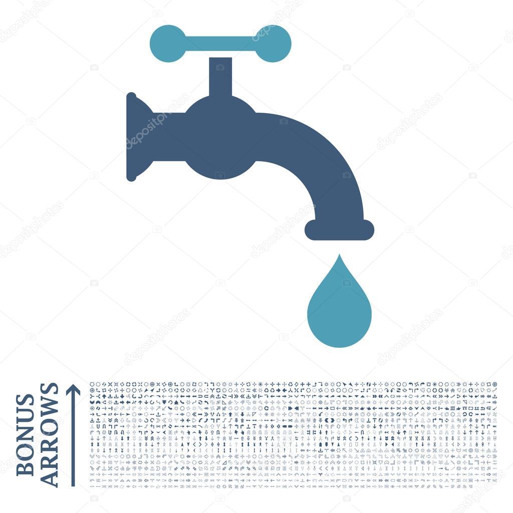 Water Tap Flat Glyph Icon with Bonus