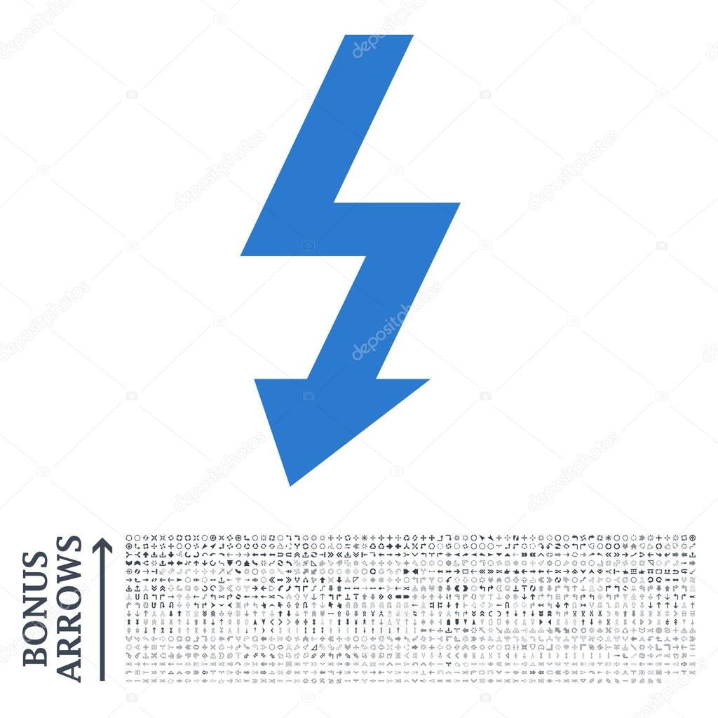 High Voltage Flat Glyph Icon with Bonus — Stock Photo ...
