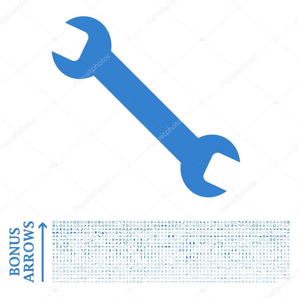 Wrench Flat Glyph Icon with Bonus