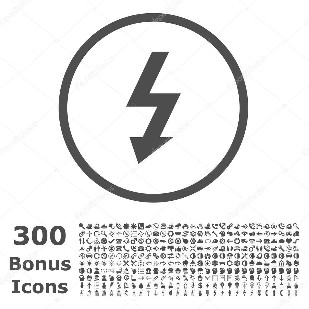 High Voltage Rounded Glyph Icon with Bonus — Stock Photo ...