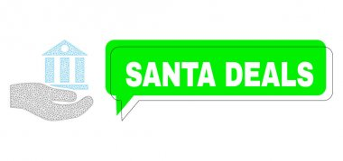 Shifted Santa Deals Green Message Balloon and Mesh Wireframe Bank Service