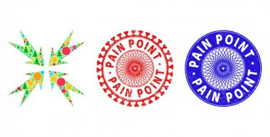 Pain Point Scratched Seals and Compression Arrows Collage of New Year Symbols